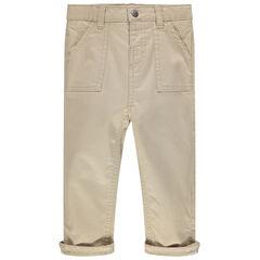 Pantalón liso de tela con bolsillos