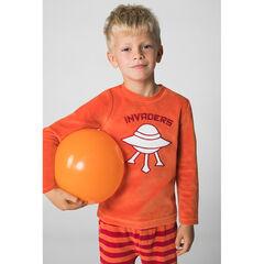 Pijama de terciopelo con platillo volador bordado