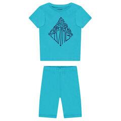 Pijama corto de punto con estampado de fantasía