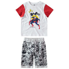 Conjunto con camiseta con estampado de Marvel Superman y bermudas con estampado de logo all over