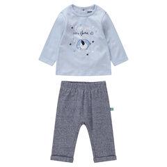 Conjunto de camiseta con elefante estampado y pantalón jaspeado