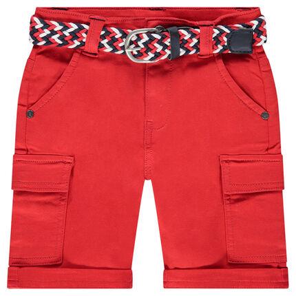 Bermudas rojas de algodón con cinturón trenzado desmontable