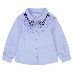 Camisa de manga larga con finas rayas all over y bordados