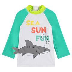 Camiseta de baño antirrayos UV con tiburón y mensajes estampados