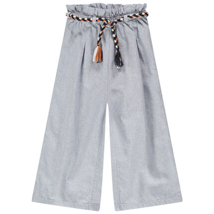 Pantalón palazzo de algodón de fantasía con cinturón trenzado