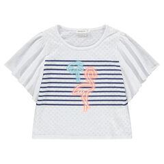 Júnior - Camiseta de manga corta con volantes y estampado de flamenco rosa