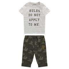 Camiseta de manga corta de rayas con bermuda de muletón estampado militar