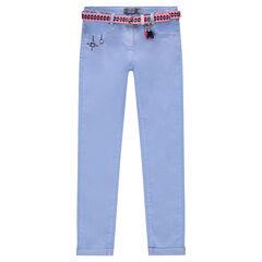 Pantalón de sarga con cinturón extraíble con dibujo ikat