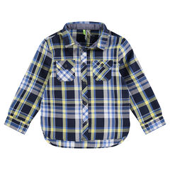 Júnior - Camisa de manga larga a cuadros con bolsillos