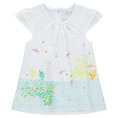 Camiseta de punto con volantes en las mangas y fondo marino estampado