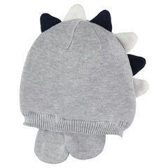 Gorro de punto tricotado gris jaspeado con cresta de relieve