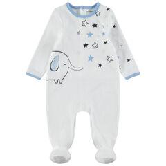 Pijama de terciopelo con estrellas y elefantes estampados