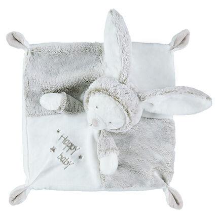 Peluche plano de conejo de borreguillo con inscripciones bordadas