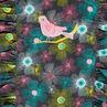 Vestido sin mangas con flores all over y pájaro bordado