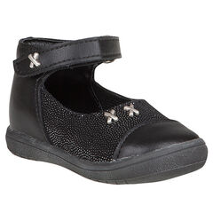 Zapatos merceditas de cuero de color negro con remaches con strass