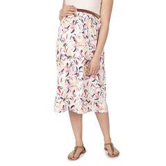 Falda larga de premamá con estampado vegetal all-over