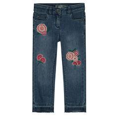 Júnior - Vaquero de efecto gastado con rosas bordadas
