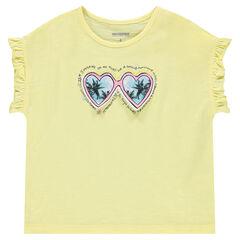 Camiseta de manga corta con volantes y gafas cosidas.