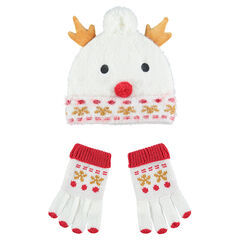 Conjunto de gorro y guantes de punto con forro de borreguillo con muñeco de nieve