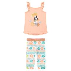 Conjunto de camiseta con estampado Vaiana y leggings estampados all over
