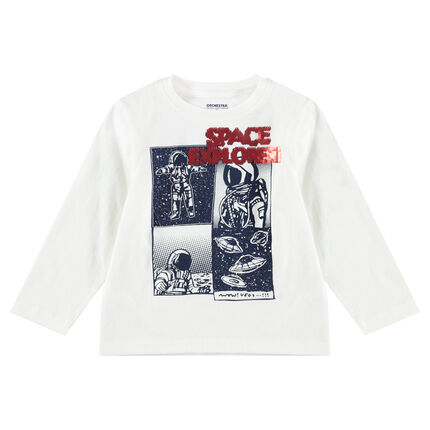 Camiseta de manga larga de punto con dibujo y lentejuelas mágicas