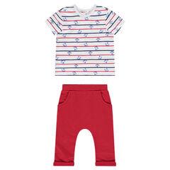 Conjunto de camiseta de manga corta con estampado de monos y pantalón liso