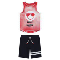 Conjunto con camiseta sin mangas ©Smiley de rayas y bermudas con franjas estampadas