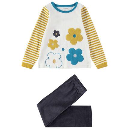 Pijama de terciopelo con grandes flores bordadas