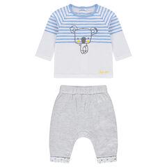 Conjunto de camiseta de rayas y pantalón gris jaspeado con cintura elástica