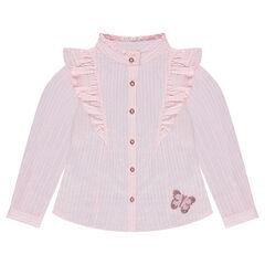 Camisa de manga larga de rayas con volantes y mariposa con lentejuelas