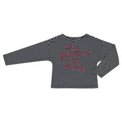 Júnior - Camiseta de manga larga a rayas con mensaje brillante