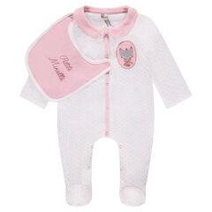 Pijama de terciopelo con lunares y babero de punto extraíble