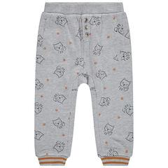 Pantalón de chándal de felpa con forro de punto con estampado de zorros all-over.