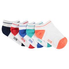 Juego de 5 pares de calcetines cortos con puntera y talón en contraste