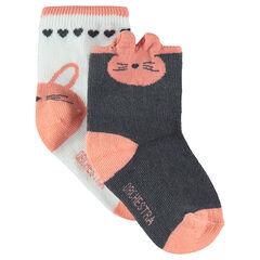 Juego de 2 pares de calcetines variados con dibujo de conejo en jácquard