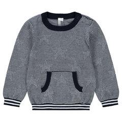 Jersey de punto con finas rayas y bolsillo de canguro