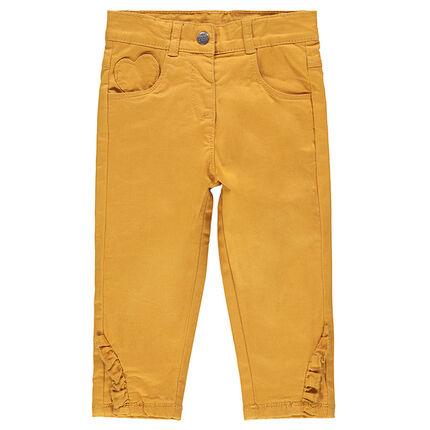 Pantalón liso de algodón con forro de punto y terminado en volantes