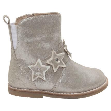 1/2 botas de cuero con brillo y estrellas