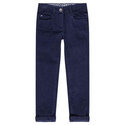 Pantalón de terciopelo azul marino liso con efecto arrugado