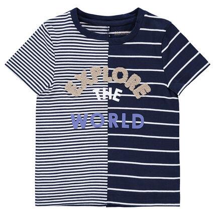 Camiseta de manga corta de rayas con inscripción de rizo
