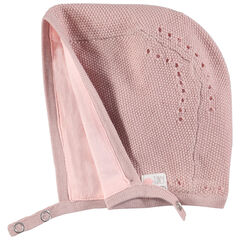 Gorro de punto con forro de punto rosa