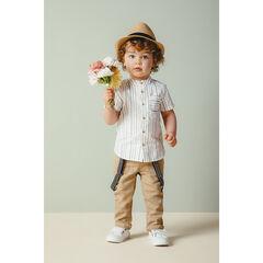 Ensemble avec chemise rayée et pantalon en toile à bretelles amovibles