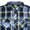 Camisa de manga larga de cuadros en contraste azul/verde con bolsillos