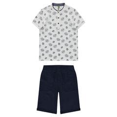 Júnior - Camiseta de manga corta con estampado de hojas y bermudas de muletón