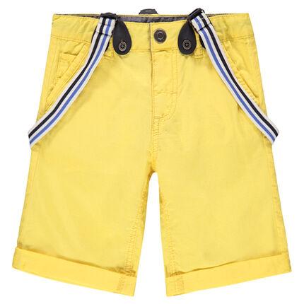 Bermudas amarillas con tirantes de rayas desmontables