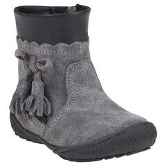 Botines de piel serraje de color gris con pompones con fantasía con cremallera