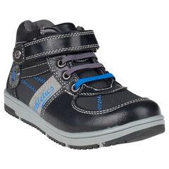Zapatillas de deporte de caña alta con cordones con velcro de aspecto cuero