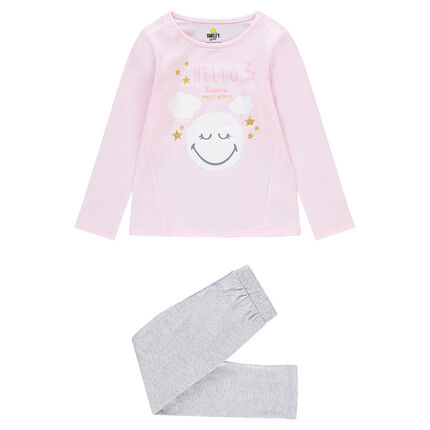 Pijama de dos colores con estampadot ©Smiley y estrellas brillantes