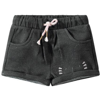 Pantalón corto de felpa ligera con mezcla de hilo plateado y conejo bordado