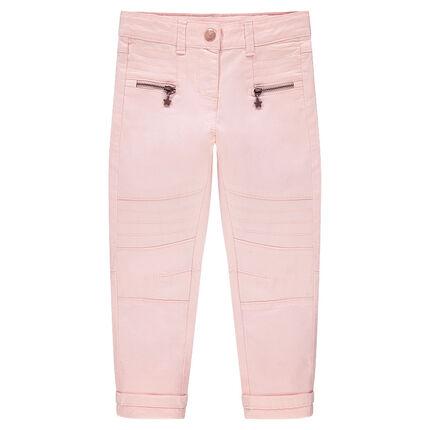 Pantalón de sarga skinny con juegos de pespuntes